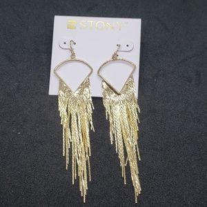 2/$13 Stony gold dangle earrings